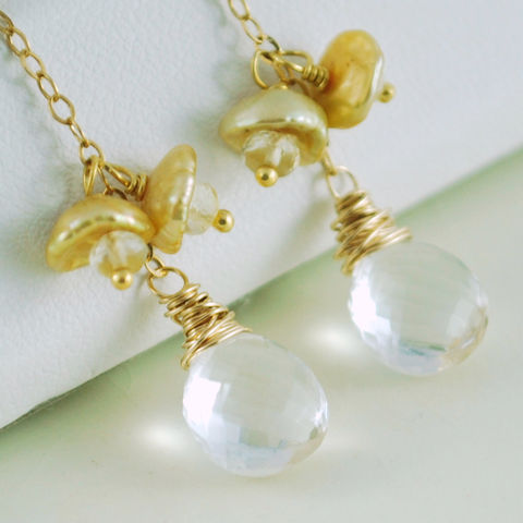Gold,Keishi,Pearl,Earrings,Keshi,Waterfall,with,Crystal,Quartz,and,Scapolite,Jewelry,Wire_Wrapped,keishi,pearl,freshwater,gemstone,semiprecious,jewellery,keishi_pearl,keshi_pearl,keshi,gold_filled,golden,scapolite,crystal_quartz
