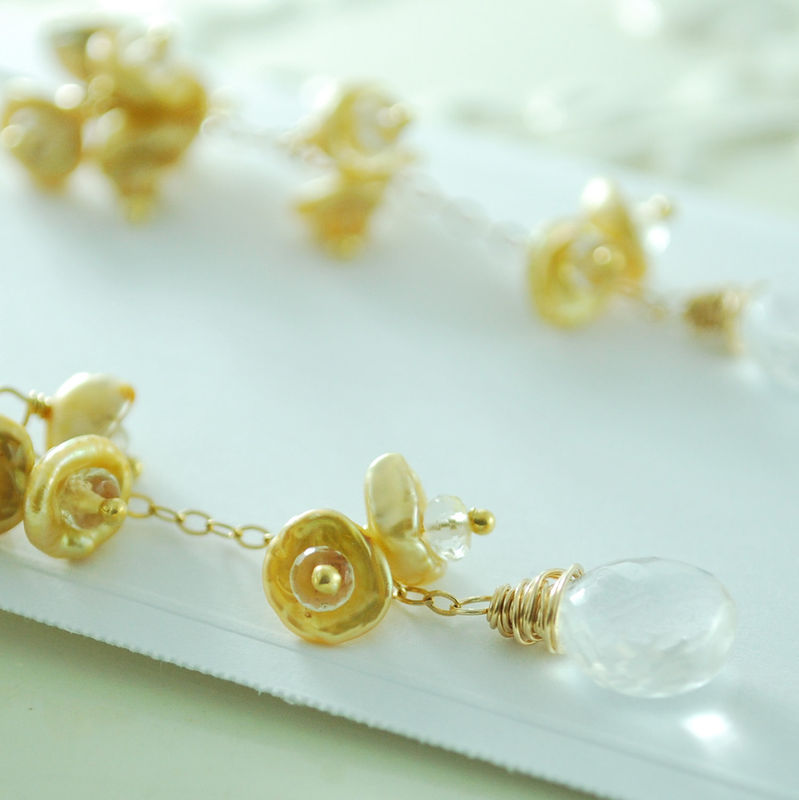 Gold Keishi Pearl Earrings Keshi Waterfall with Crystal Quartz and Scapolite Jewelry - product images  of