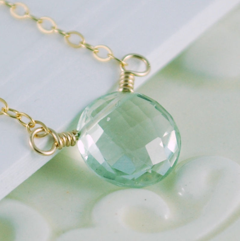Green Amethyst Necklace Simple Gold Jewelry livjewellery