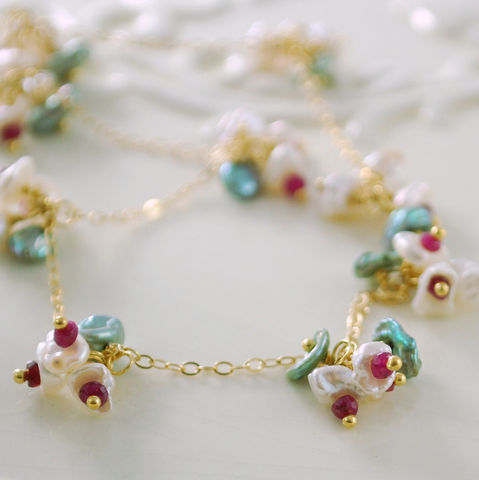 Christmas,Jewelry,Ruby,and,Keishi,Pearl,Blossoms,Necklace,in,Gold,Earrings,Wire_Wrapped,Christmas_jewelry,Christmas_necklace,holiday,ruby,ruby_necklace,keishi_pearl,freshwater,blossom,flower,holiday_jewelry,holiday_necklace,pearl_necklace,freshwater_keishi_pearl,gold_fill