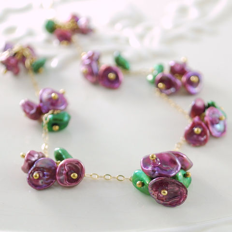 Floral,Necklace,Keishi,Pearl,Plum,Blossoms,with,Rhodolite,Garnet,in,Gold,Jewelry,Wire_Wrapped,gold_filled,freshwater_pearl,blossom,flower,floral,gemstone,raspberry,keishi,jewellery,keishi_pearl,keishi_necklace,floral_necklace,floral_jewelry,keishi_cornflake_freshwater_pearls,rhodolite_garnet,gold_fill
