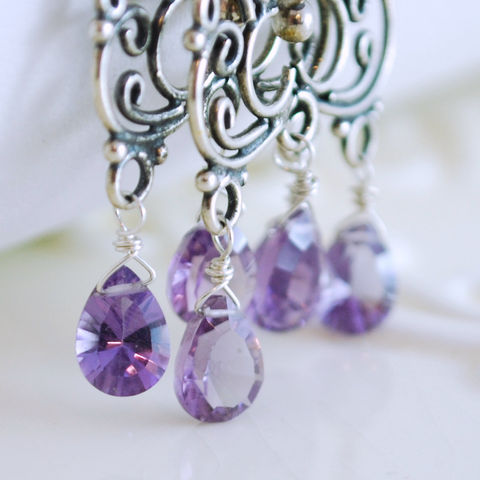 Amethyst,Chandelier,Earrings,in,Sterling,Silver,Jewelry,birthstone,gemstone,semiprecious,genuine,amethyst,purple,lavender,pan_cut,oxidized,sterling_silver,amethyst_earrings,amethyst_chandeliers,amethyst_jewelry