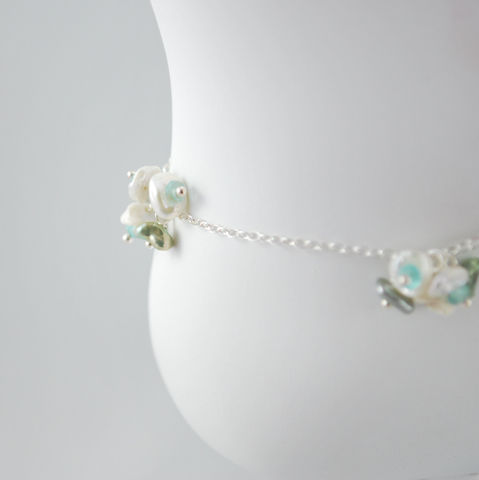 Sterling,Anklet,White,Keishi,Blossoms,with,Apatite,Gemstones,pearl anklet, pearl jewelry, keishi pearl, white pearl, apatite anklet, apatite jewelry, summer anklet