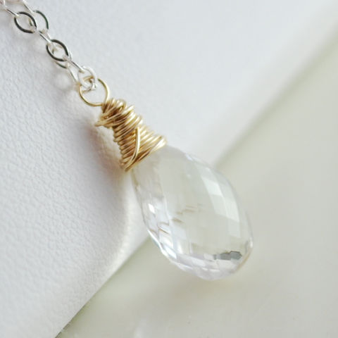 Crystal,Quartz,Necklace,Mixed,Metals,Jewelry,Wire_Wrapped,feminine,gemstone,semiprecious,aaa,gold_filled,mixed_metal,crystal_quartz,scapolite,jewellery,silver,sterling,quartz_necklace,quartz_jewelry,sterling_silver