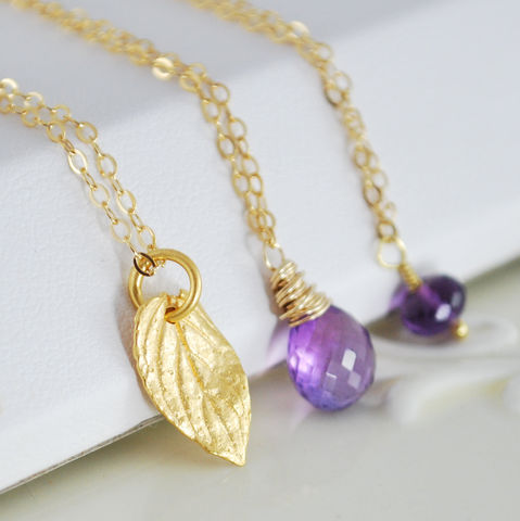 Amethyst,Necklace,Layering,in,Gold,Set,of,Three,Jewelry,Wire_Wrapped,genuine,gold_filled,feminine,gemstone,semiprecious,elegant,jewellery,layering,amethyst,leaf,vermeil,amethyst_necklace,layering_necklace,gold_vermeil