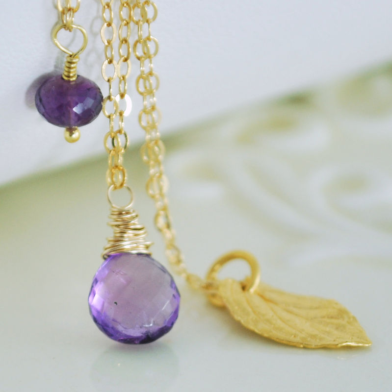 Amethyst Necklace Layering in Gold Set of Three - product images  of