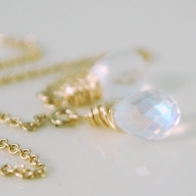 Moonstone Earrings Threaders Gold Jewelry - product images  of