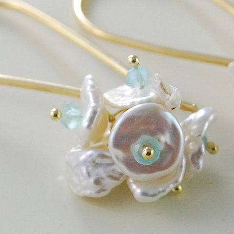 White,Keishi,and,Apatite,Blossoms,on,Long,Gold,Earwires,Jewelry,Earrings,Wire_Wrapped,gemstone,semiprecious,gold_filled,genuine,freshwater_pearl,blossom,apatite,white_pearl,jewellery,blue,green,aqua,keishi,keishi_cornflake_pearl,gold_fill