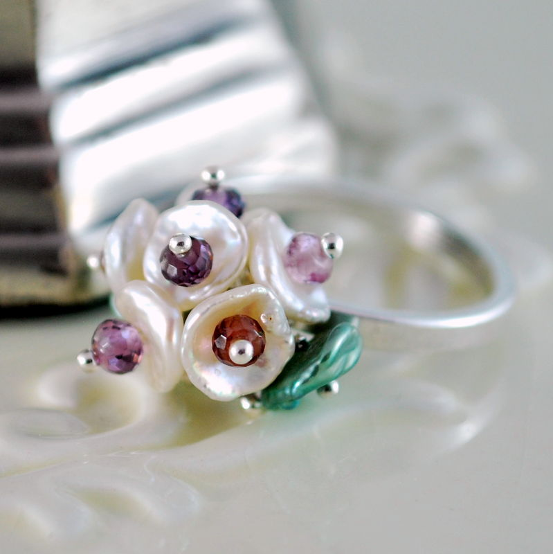 Keishi Pearl Ring Flower Blossom Plum Spinel Gemstone Sterling Silver Jewelry - product images  of