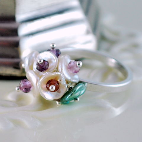 Keishi,Pearl,Ring,Flower,Blossom,Plum,Spinel,Gemstone,Sterling,Silver,Jewelry,ring, sterling silver, flower, blossom, floral, keishi, keshi, pearl, genuine, freshwater, spinel, gemstone, semiprecious, berry, plum