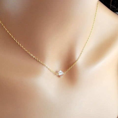 Herkimer,Diamond,Choker,in,Gold,jewelry, jewellery, handmade, wire wrapped, necklace, choker, gold, gold filled, herkimer diamond, quartz, minimalist, simple, gemstone