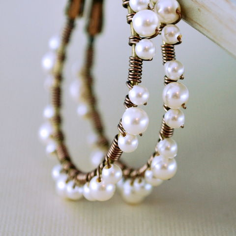 Pearl,Lace,Hoops,,Ivory,Swarovski,Beads,,Antiqued,Brass,,Wire,Wrapped,Feminine,Earrings,pearl, hoops, brass, antiqued, Swarovski, ivory, cream, wire wrapped, earrings, jewelry, jewellery