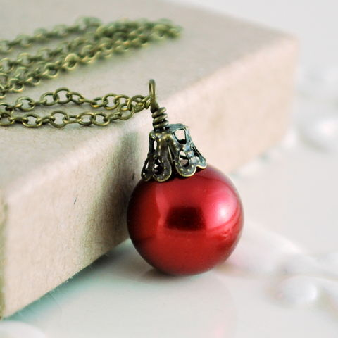 Dark,Red,Christmas,Necklace,Antiqued,Brass,Jewelry,jewelry, jewellery, necklace, holiday, Christmas, glass pearl, dark red, antiqued brass, fun, whimsical, ball, ornament