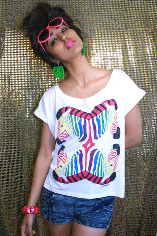 Zebra,Rainbow,Crop,T-Shirt, Tshirt, Crop, Zebra, Summer, Geometric, Jungle, Tropical, Rainbow, Dazzle and Jolt