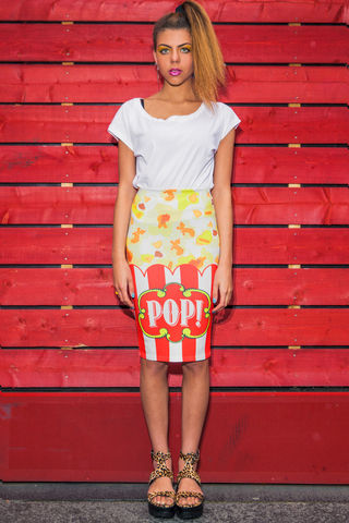 Pop!,Midi,Skirt,popcorn, pop!, pop skirt, skirt, midi skirt, pencil skirt, dazzle and jolt, popcorn print, London fashion, the greatest show on earth