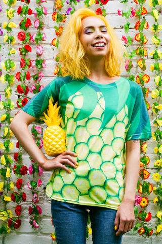 The,Big,Pineapple,T-shirt, tshirt, tee, t-shirt, skirt, fruit, print, pineapple print, dazzle and jolt, summer, fashion, co-ord, tropical, tropicanaval, festival, London fashion, independent designers