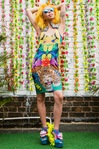 Jungle,Fever,Bodycon,Dress,dress, bodycon, dazzle and jolt, tropical, print, Tropicanaval, leopard, humming bird, butterflies, summer, fashion, London fashion, festival fashion, independent designers