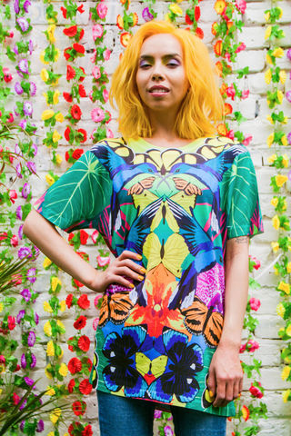 Botanico,T-Shirt,T-shirt, tshirt, tee, unisex, dazzle and jolt, Tropicanaval, tropical, butterflies, orchids, hummingbirds, botanical, botanic, print, summer, festival fashion, London fashion, independent designers