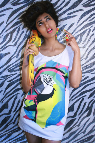 Geo-Parrot,T-Shirt,parrot, summer, style, oversized, t-shirt, Illustrated, Dazzle, Jungle, Dazzle and Jolt, Geometric, Fashion