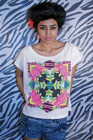 Toucan,Kaleido,Crop,T-Shirt,toucan, summer, style, crop, oversized, t-shirt, Illustrated, Dazzle, Jungle, Dazzle and Jolt, Geometric, Fashion