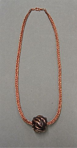 Copper,Wire,Rope,Necklace,with,Hollow,Lampworked,Red,and,Gold,Bead, Lampworked Glass Bead, Copper Wire