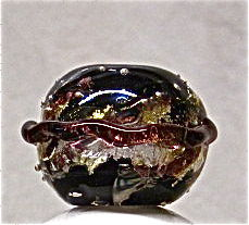 Lampworked Saturn Focus Bead, Black, Purple, and Silver - product images  of