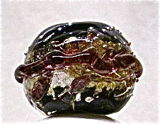 Lampworked,Saturn,Focus,Bead,,Black,,Purple,,and,Silver,Lampwork, Glass Focal Bead, Hollow