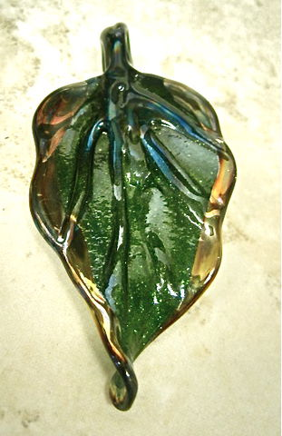 Large,Lampworked,Leaf,Pendant,Bead