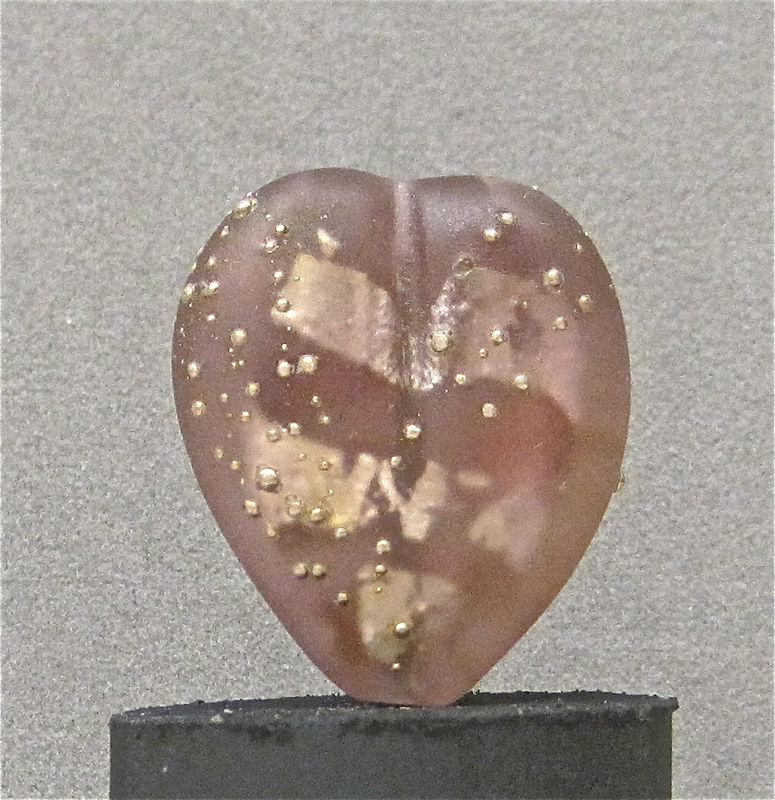 Lampworked Amethyst & Silver Glass Heart Bead - product images  of