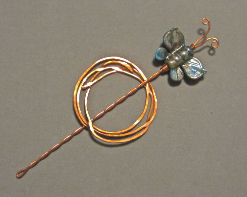 Copper Shawl Pin with Turquoise Glass Butterfly - product images