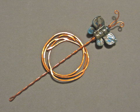 Copper,Shawl,Pin,with,Turquoise,Glass,Butterfly,Butterfly Shawl Pin, Copper, Lampworked Bead