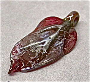 Lampworked Cranberry Glass & Silver Leaf Pendant Bead - product images  of