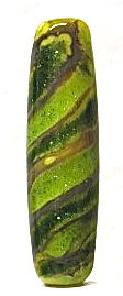 Lampworked Swirled Green and Gold Long Bead - product images  of