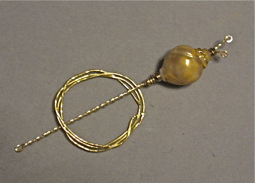 Brass Shawl Pin and Holder with Lampworked Shell Bead - product images