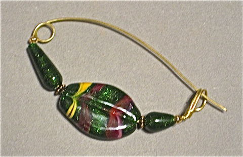 Brass,Shawl,Pin,with,Lampworked,Beads,in,Autumn,Colors,Shawl pin, Autumn colors, Lampworked beads, fibula style