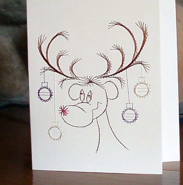 Christmas Card -  Reindeer  - Hand Embroidered - product image