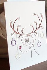 Christmas Card -  Reindeer  - Hand Embroidered - product images 2 of 3