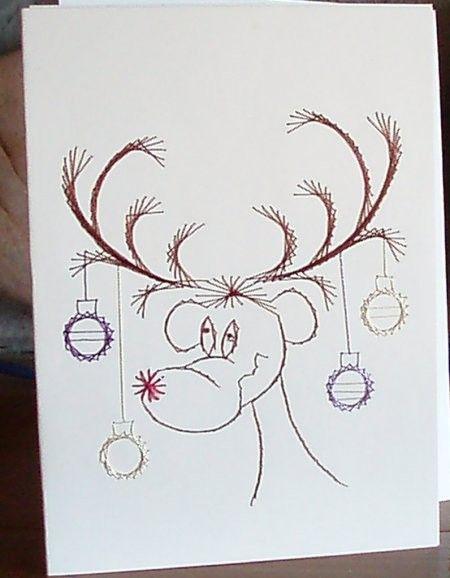 christmas card - reindeer - hand embroidered