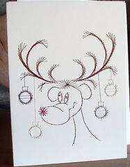Christmas Card -  Reindeer  - Hand Embroidered - product images 3 of 3
