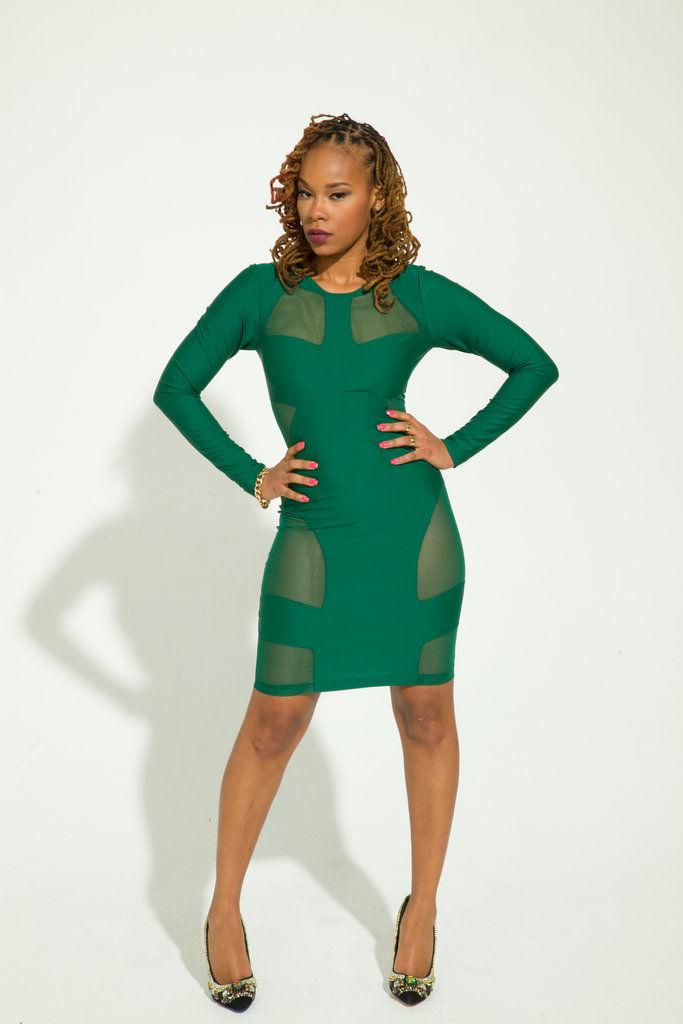 Green Dresses Mesh
