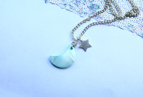 Moon,and,Star,Silver,Necklace,silver filled jewellery, shell, moon, stars necklace, pendant, british necklace, jewellery, jewelry, boho, bohemian, hippie, sterling silver, .925, blue sea glass, nomad, beach wear, beach accessories, beach, holiday