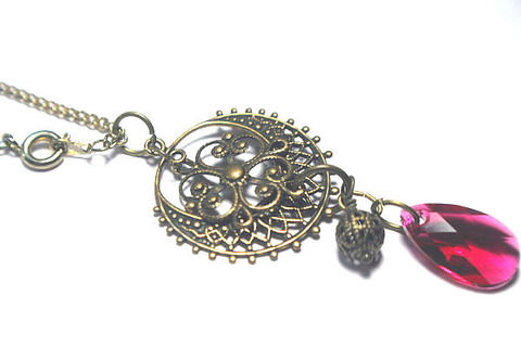 Fushia,Pink,and,Antique,Gold,Victorian,Filigree,Pendant,Necklace,Jewelry,Charm,Victorian_Necklace,Period_Jewelry,Old_World,Renaissance_Pendant,Victorian_Filigree,Fushia_Pink,Vintage_style,Vintage_Necklace,Antique_Gold,Fusha_Crystal_Drop,Pink_Pendant,SCA_Jewelry,Vintage aged Brass Componants,Crystal Dro