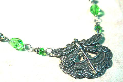 Dragonfly,Ancient,Renaissance,Choker,-,collar,style,Necklace,in,Antiqued,Silver,Vintage,Brass,Jewelry