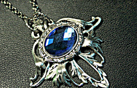 Queen,of,the,Elves,inspired,Silver,Elvin,Moonlit,Forest,Pendant,with,Blue,Sapphire,Crystal,Jewelry,Necklace,Metal,Elvish_pendant,Fantasy_Elven_Charm,Silver_Fae,Elf_Queen,Elvish_inspired,Elvin_Moonlit,Forest_Pendant,Blue_Sapphire,Crystal_Cabochon,Faceted_Glass_cab,Fantasy_Jewelry,Antiqued_Brass,Silver_Plating,Silver Plated real silver in the pla