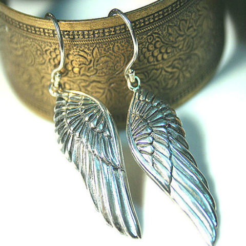 Large,Angel,Wing,charm,earrings,-,925,Sterling,Silver,top,quality,Angel Wing Earrings-wing charms-fantasy charm-Sterling Silver earrings-925 sterling-silvermoongalleria-Jewelry with Wings- sterling Wings wing-earrings sterling