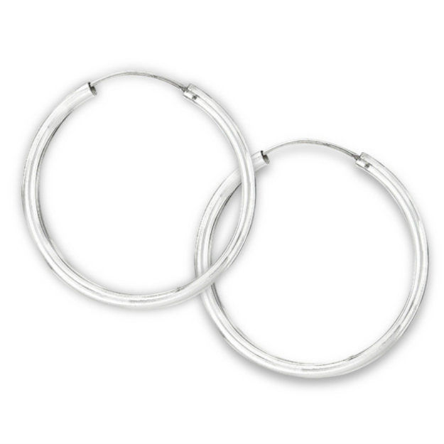 Sterling Silver Tube Endless Hoop Earrings wide 3 mm x 50 mm  - product images
