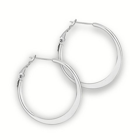 Stainless,Steel,Hoop,Earring,flattened,Design,4mm,x,30mm,Hypo,Allergenic,large,Bohemian,Gypsy,Style,Endless Hoops, sterling hoop earrings, sterling Silver Earrings, Bohemian Earrings, Gypsy Hoops, Gypsy Earrings,