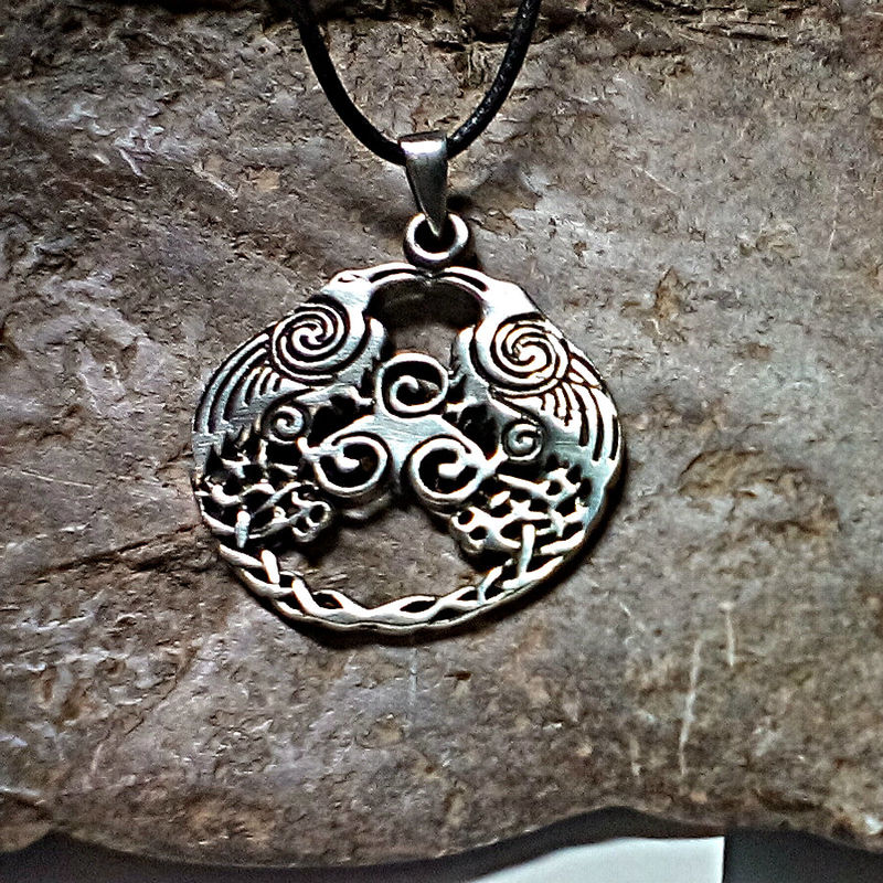 Twin Raven Magic Pendant Celtic Amulet Two Ravens - ODIN Blackbirds with Swirling Newgrange Spirals  - product images  of