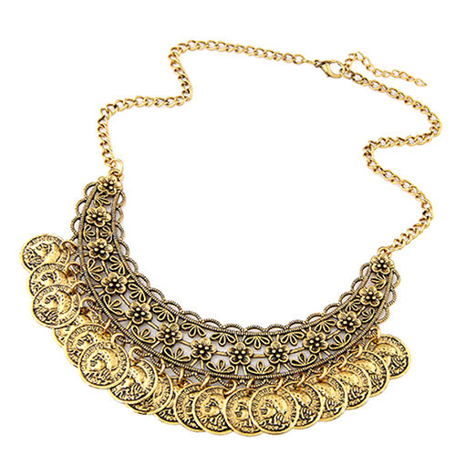 Coin Bohemian Dance Choker Necklace Accessories Antique Gold Jewelry - product images