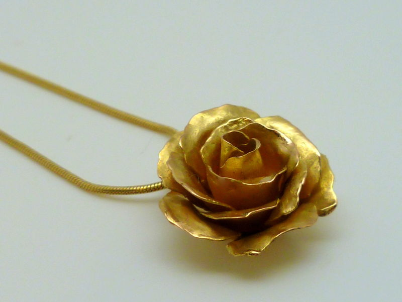 18k gold rose pendant contemporary jewelry by beatriz fortes 18k gold rose pendant product images of mozeypictures Image collections